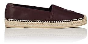 Saint Laurent Women's Logo-Embroidered Leather Espadrilles - Wine