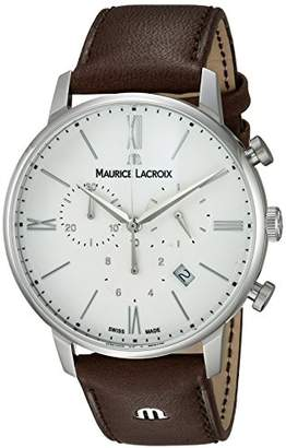 Maurice Lacroix Men's 'Eliros' Swiss Quartz Stainless Steel and Leather Casual Watch