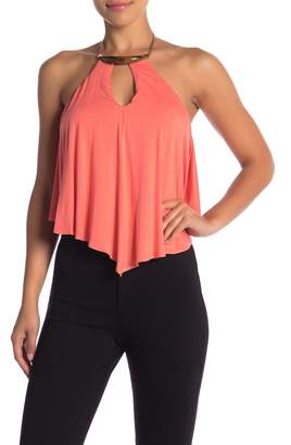 Sky Halter Chain Front Keyhole Tank Top