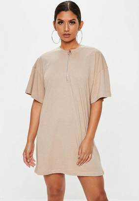 Missguided Stone Zip Front TShirt Dress