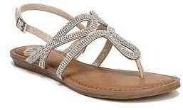 Fergalicious Shimmer Embellished T-Strap Sandals