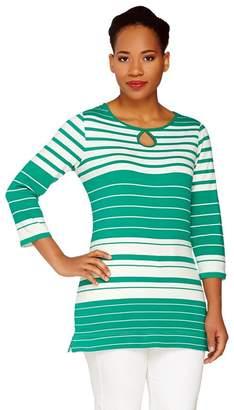 Liz Claiborne New York 3/4 Sleeve Striped Tee w/ Keyhole