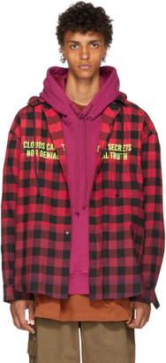 Juun.J Red and Black Plaid Hooded Shirt