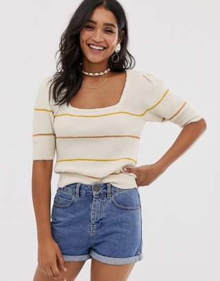 Asos Design DESIGN natural yarn stripe knit tee with puff sleeve