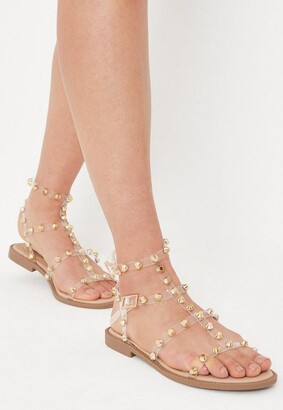 Missguided Gold Look Clear Dome Stud Gladiator Sandals