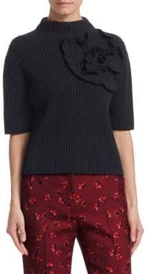 Akris Punto Wool& Cashmere Floral Knit Turtleneck Sweater