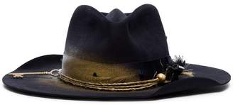 Nick Fouquet navy distressed detail fur hat