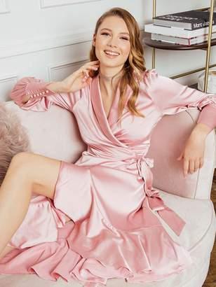 Shein Shawl Collar Ruffle Dip Hem Dress