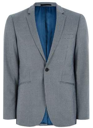 Topman Mens Green Gray Houndstooth Contrast Collar Skinny Suit Jacket