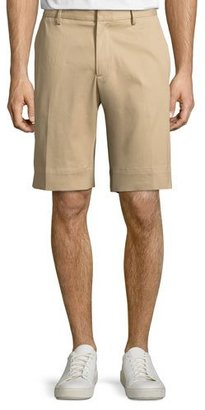 Moncler Track-Stripe Twill Shorts, Khaki $375 thestylecure.com