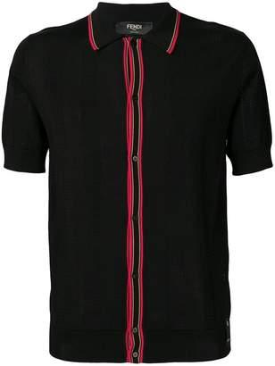 Fendi ribbed panel polo T-shirt