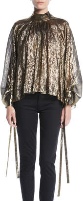 Osman Mock-Neck Pouf-Sleeve Tie-Cuff Lightweight Metallic Tulle Blouse
