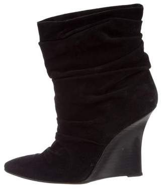 Manolo Blahnik Ruched Wedge Ankle Boots