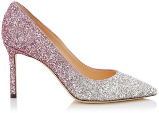 Jimmy Choo ROMY 85 Platinum and Flamingo Ice Glitter Degrade Fabric Pointy Toe Pumps