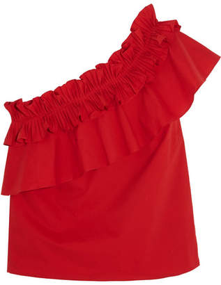 Saloni - Esme One-shoulder Ruffled Cotton-blend Top - Red $325 thestylecure.com