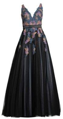 Basix II Black Label Embroidered V-Neck Sleeveless Ball Gown
