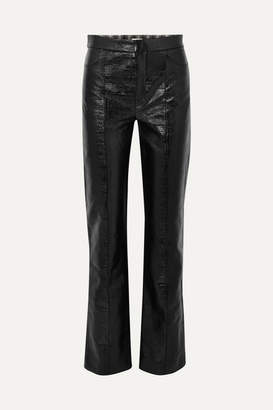 Totême Olbia Coated Cotton-blend Straight-leg Pants - Black