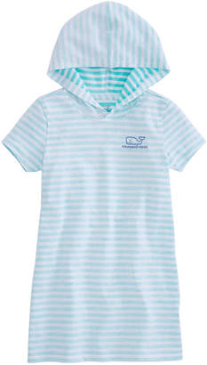 Vineyard Vines Girls Short-Sleeve Feeder Stripe Whale Hoodie Cover-Up
