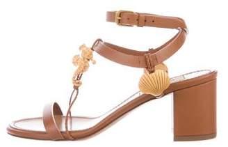 Valentino Leather T-Strap Sandals