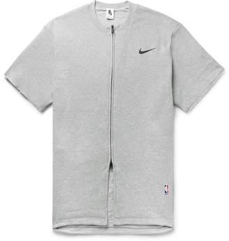 2085631ea92e3a Nike Fear Of God Oversized Mélange Cotton-Blend Jersey Zip-Up T-Shirt