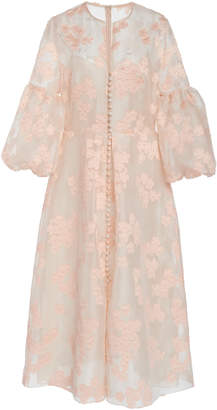 Lela Rose Full Sleeve Button Front Silk Dress