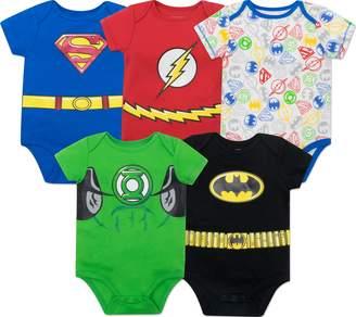 Justice Warner Bros. League Baby Boys' 5 Pack Superhero Onesies - Batman, Superman, The Flash and Green Lantern