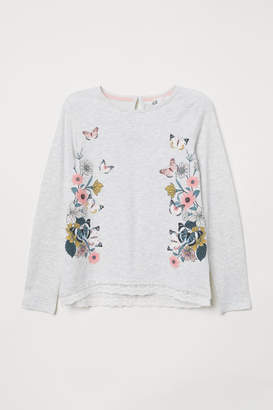 H&M Lace-trimmed Jersey Top - Gray