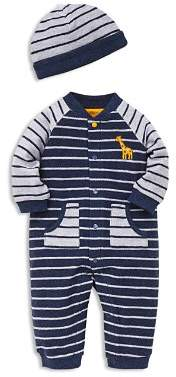Little Me Boys' French Terry Striped Hat & Coverall Set - Baby