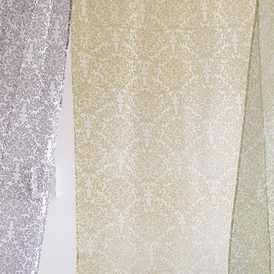 Sheer Floral Print Window Panels-Petal