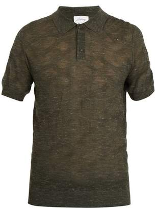 Brioni Point Collar Wool Blend Knit Polo Shirt - Mens - Green