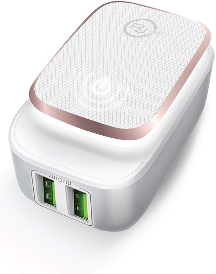 Power 2.4A Dual Port Smart USB Wall Charger with LED Night Light - White/Rose Gold