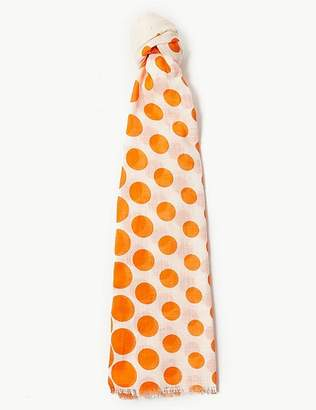 Marks and Spencer Pure Cotton Polka Dot Scarf