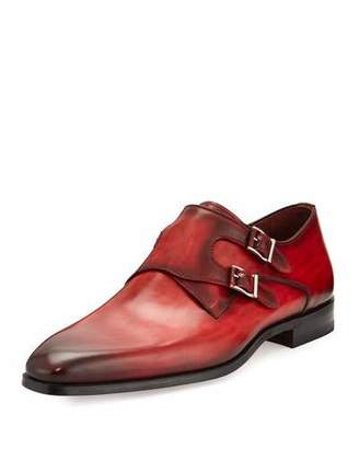 Magnanni for Neiman Marcus Burnished Leather Double-Monk Shoe, Red $475 thestylecure.com