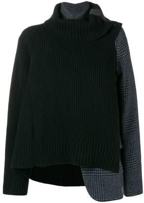 Sacai asymmetric long-sleeve sweater