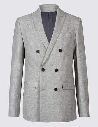 Marks and Spencer Linen Rich Tailored Fit Textured Jacket