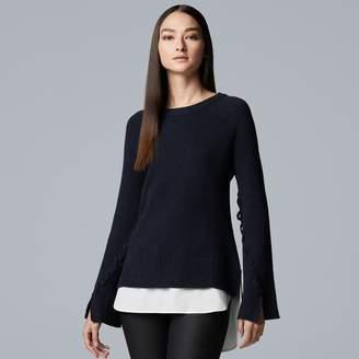Vera Wang Women's Simply Vera Mock-Layer Bell Sleeve Sweater
