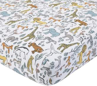 DwellStudio Dwell Studio Safari Animal Print Fitted Crib Sheet, Gray/Yellow/Orange