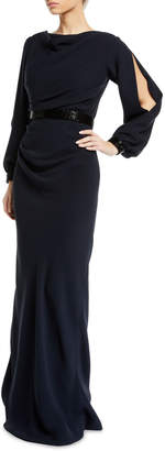 Roland Nivelais Open-Sleeve Cowl-Neck Silk Gown