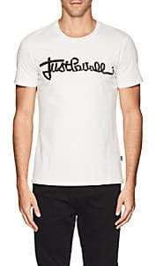 Just Cavalli MEN'S ZIPPER-LOGO COTTON T-SHIRT-WHITE SIZE S