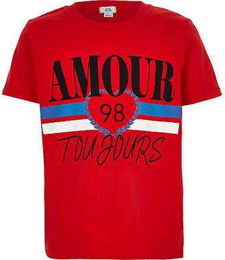 River Island Girls red 'Amour Toujours' T-shirt