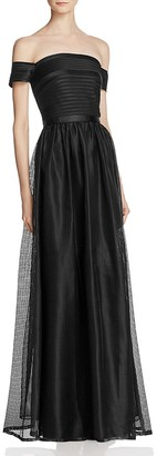 JS Collections Off-the-Shoulder Mesh Gown $298 thestylecure.com