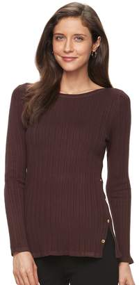 Croft & Barrow Women's Button Side Long Sleeve Top