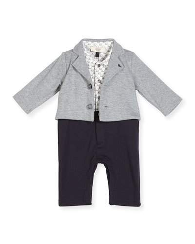 Armani JuniorArmani Junior Cotton Illusion Coverall, Gray, Size 3-12 Months