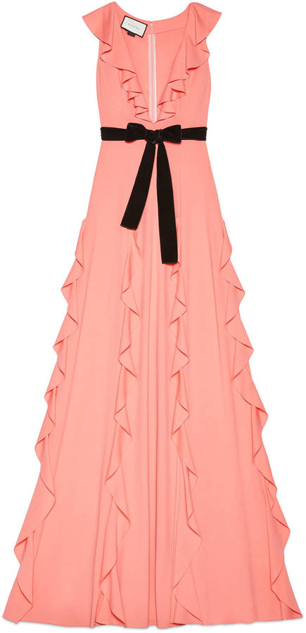 GucciViscose jersey gown with ruffles
