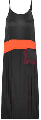 Tory Burch Veronica Cady, Lace And Satin-paneled Pleated Crepe De Chine Maxi Dress - Black