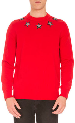Givenchy Star-Embroidered Crewneck Sweater, Red $745 thestylecure.com