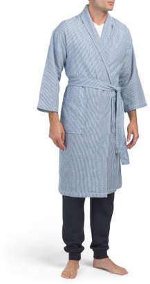 Men's Pinstripe Shawl Collar Robe