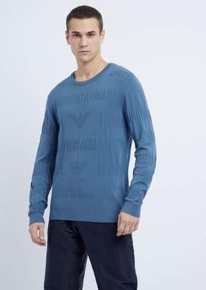 Emporio Armani Crew-Neck Sweater In Jacquard Knit With Geometric Inlay