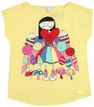 Little Marc Jacobs Heart Logo Cotton Blend Jersey T-Shirt