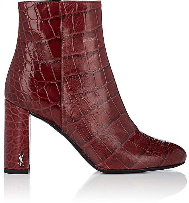 Saint Laurent Women's Loulou Stamped-Leather Ankle Boots
